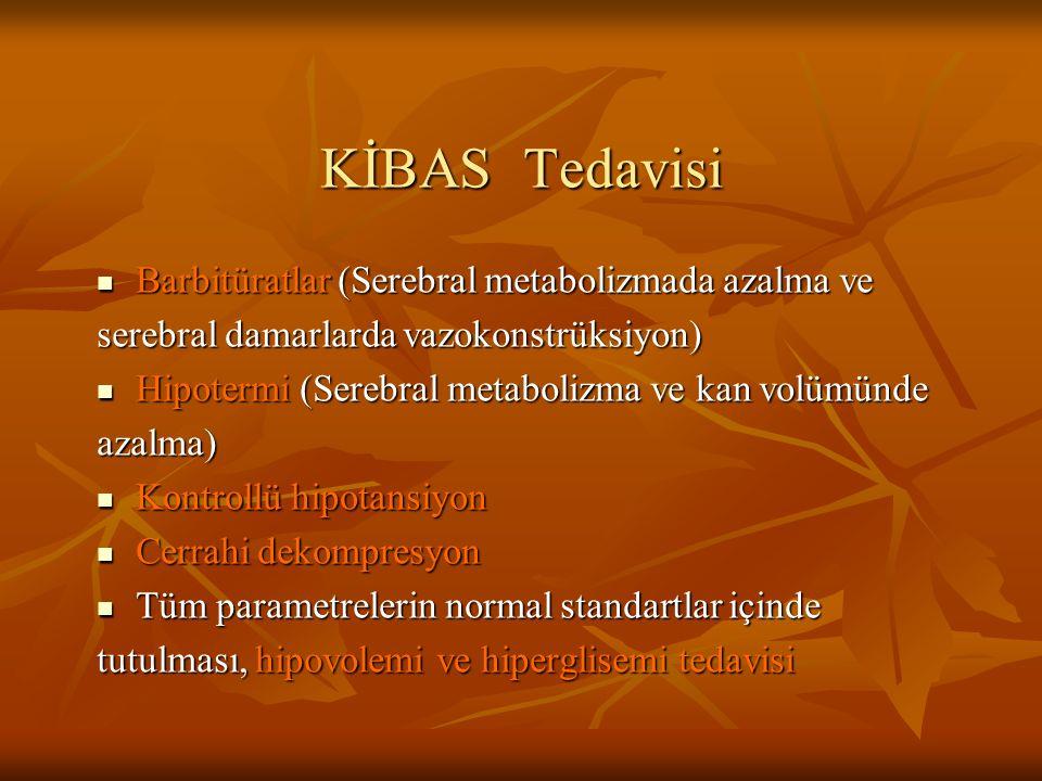 KİBAS Tedavisi Barbitüratlar (Serebral metabolizmada azalma ve