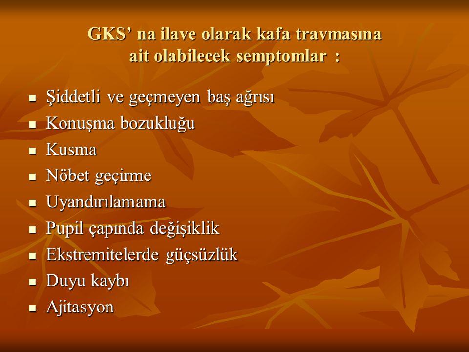 GKS' na ilave olarak kafa travmasına ait olabilecek semptomlar :