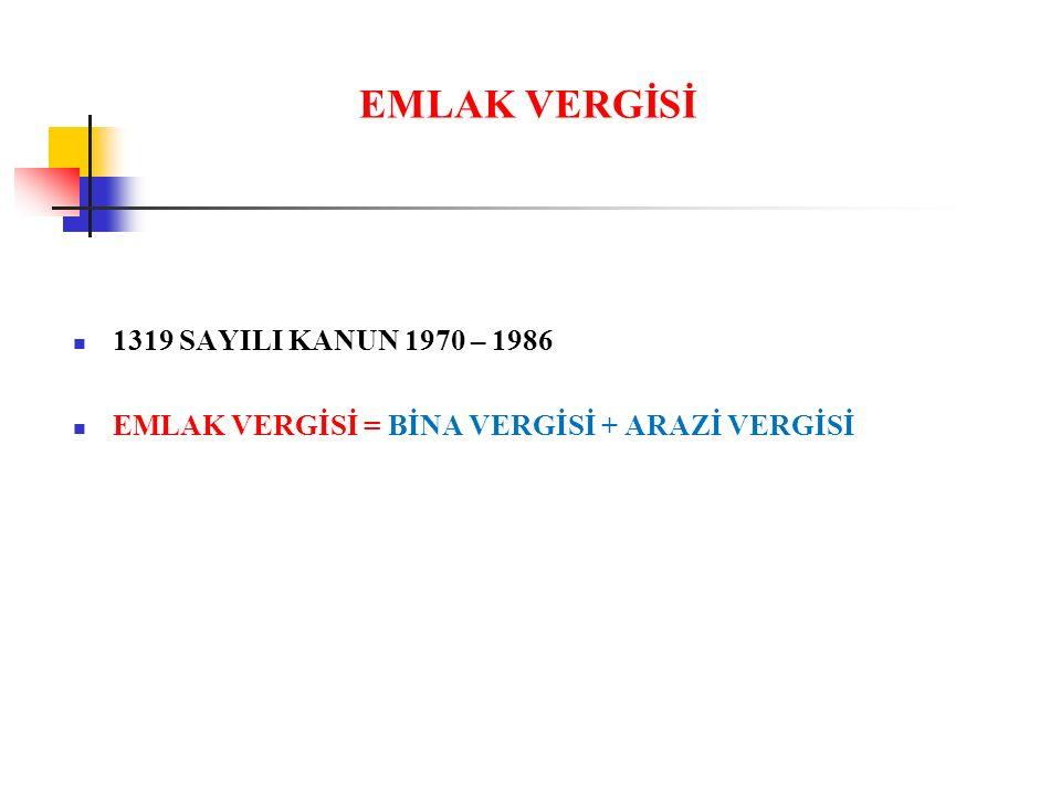 EMLAK VERGİSİ 1319 SAYILI KANUN 1970 – 1986