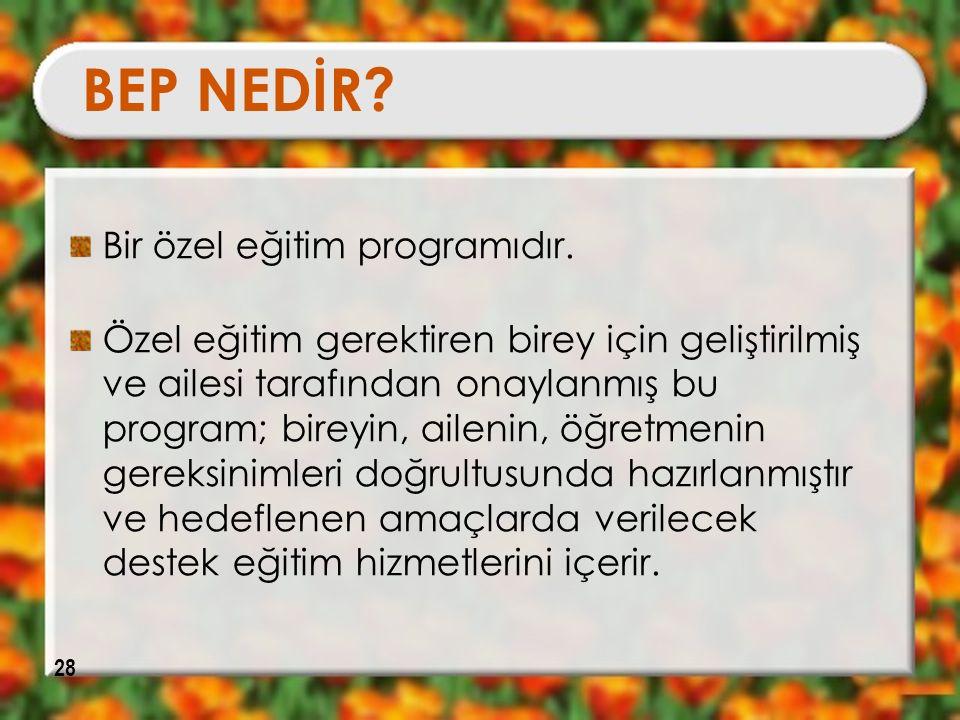 BEP NEDİR Bir özel eğitim programıdır.