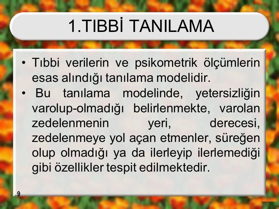 1.TIBBİ TANILAMA Tıbbi verilerin ve psikometrik ölçümlerin esas alındığı tanılama modelidir.