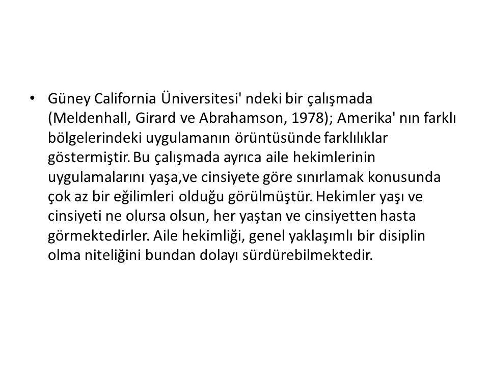Güney California Üniversitesi ndeki bir çalışmada (Meldenhall, Girard ve Abrahamson, 1978); Amerika nın farklı bölgelerindeki uygulamanın örüntüsünde farklılıklar göstermiştir.
