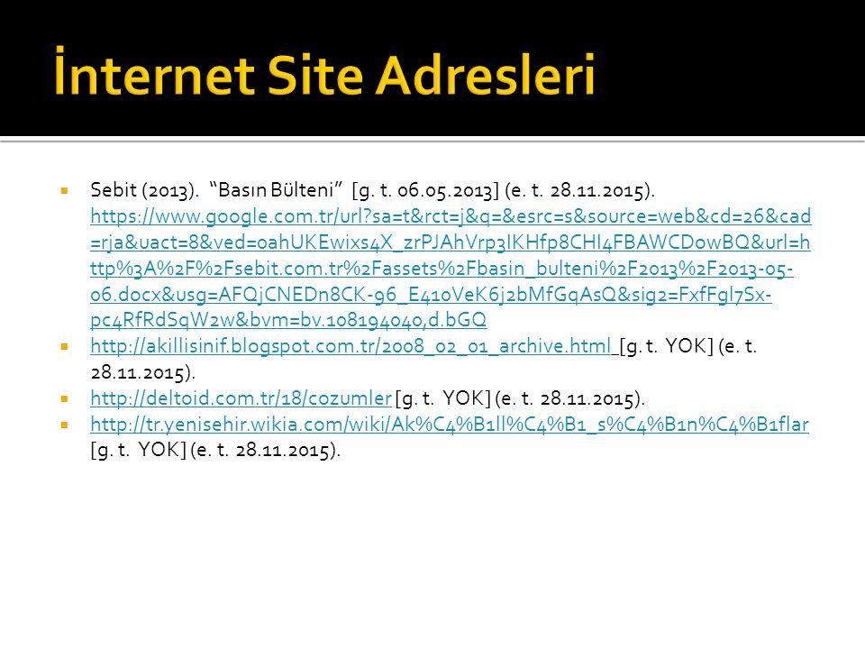 İnternet Site Adresleri
