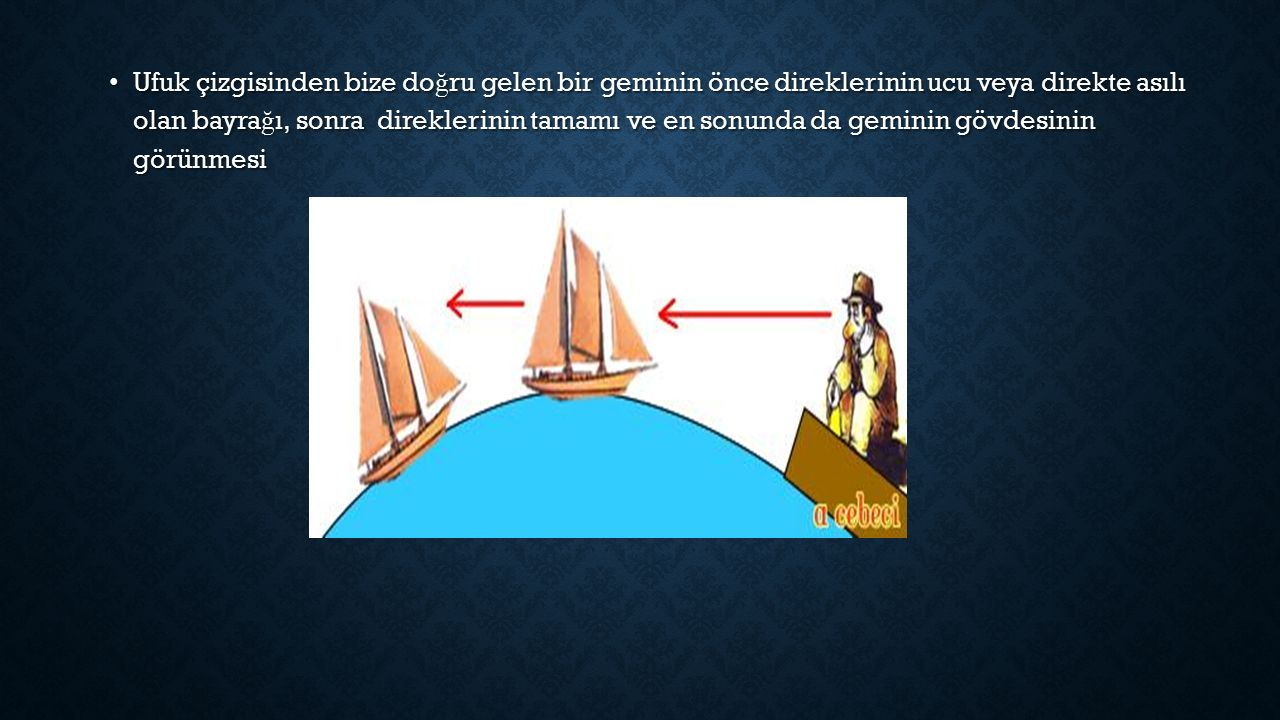 Ufuk çizgisinden bize doğru gelen bir geminin önce direklerinin ucu veya direkte asılı olan bayrağı, sonra direklerinin tamamı ve en sonunda da geminin gövdesinin görünmesi