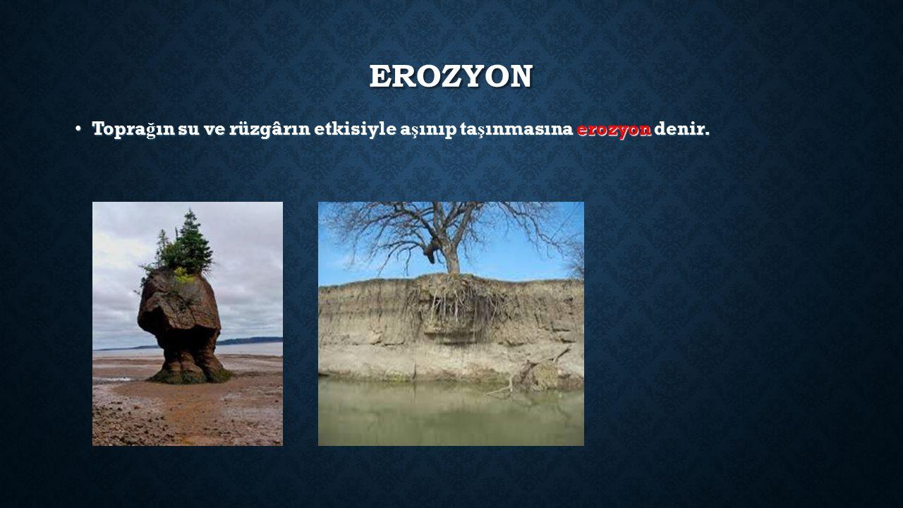 EROZYON Toprağın su ve rüzgârın etkisiyle aşınıp taşınmasına erozyon denir.