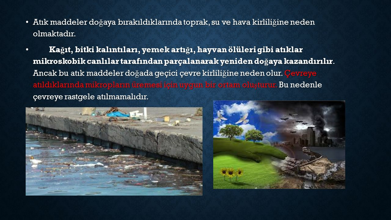 Atık maddeler doğaya bırakıldıklarında toprak, su ve hava kirliliğine neden olmaktadır.