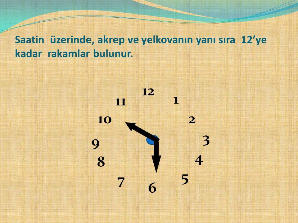 Saatin üzerinde, akrep ve yelkovanın yanı sıra 12'ye kadar rakamlar bulunur.