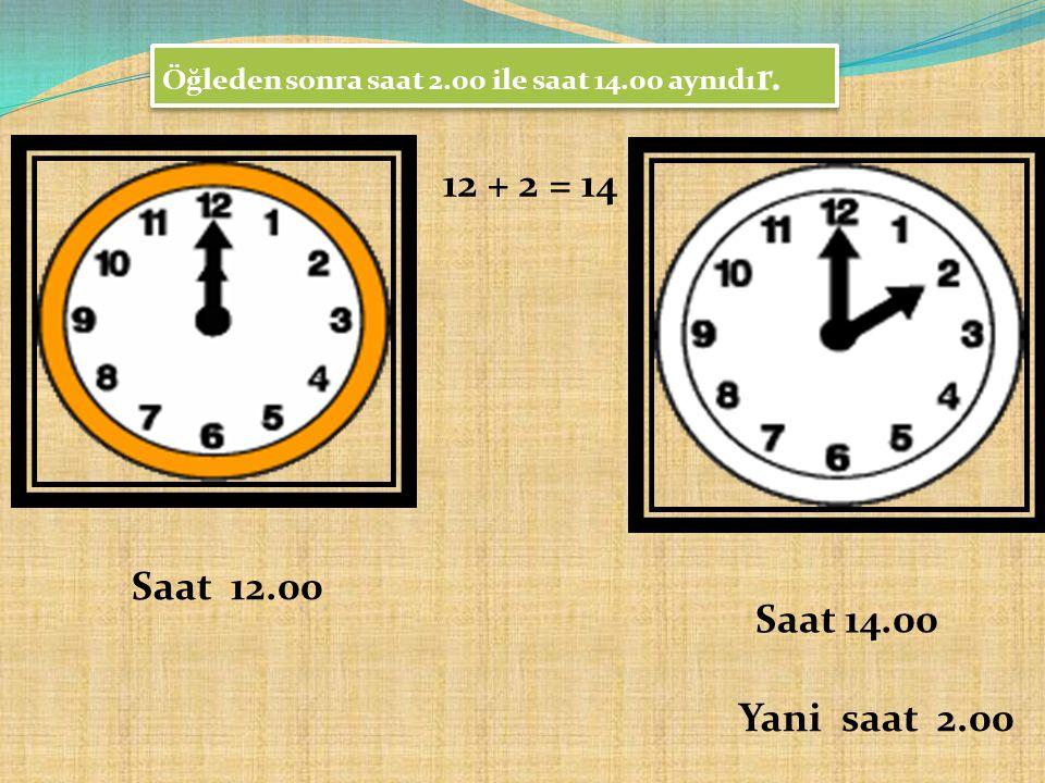Öğleden sonra saat 2.00 ile saat 14.00 aynıdır.