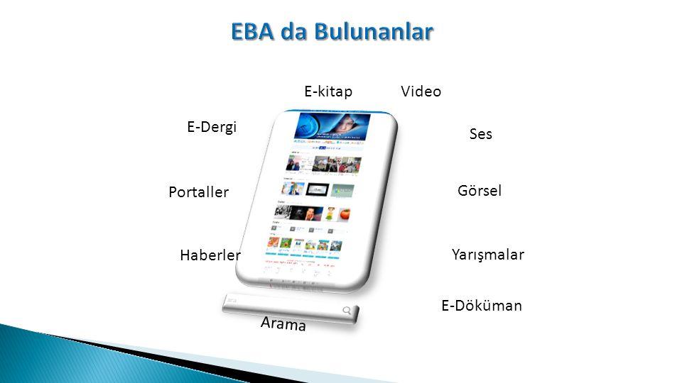 EBA da Bulunanlar E-kitap Video E-Dergi Ses Portaller Görsel Haberler