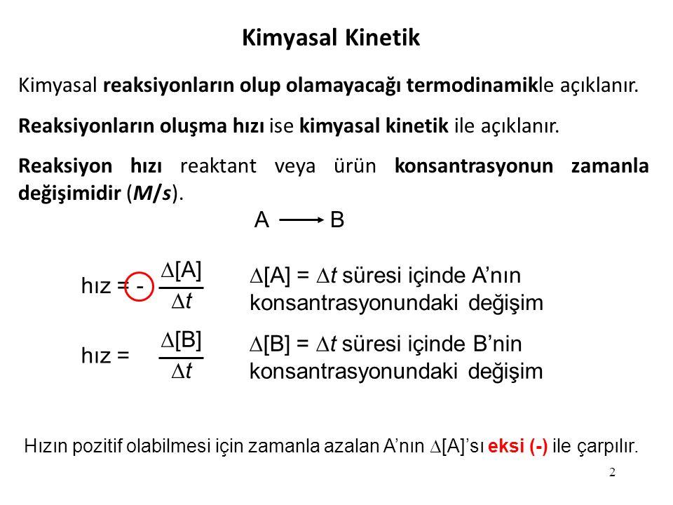 Kimyasal Kinetik Kimyasal reaksiyonların olup olamayacağı termodinamikle açıklanır. Reaksiyonların oluşma hızı ise kimyasal kinetik ile açıklanır.