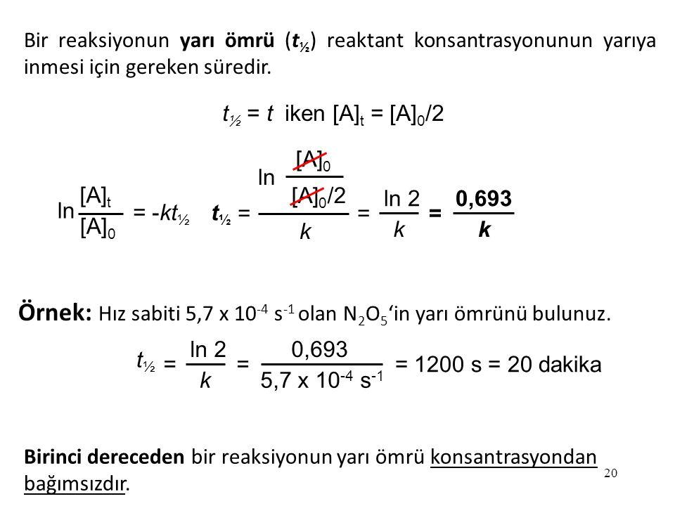 Örnek: Hız sabiti 5,7 x 10-4 s-1 olan N2O5'in yarı ömrünü bulunuz.