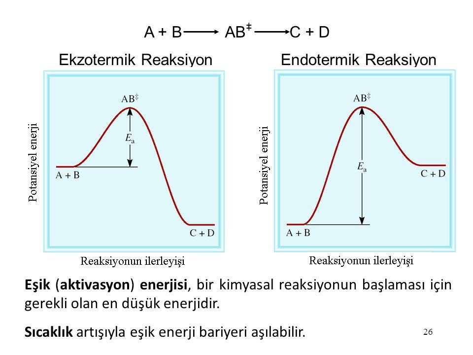 A + B AB C + D + Ekzotermik Reaksiyon. Endotermik Reaksiyon.