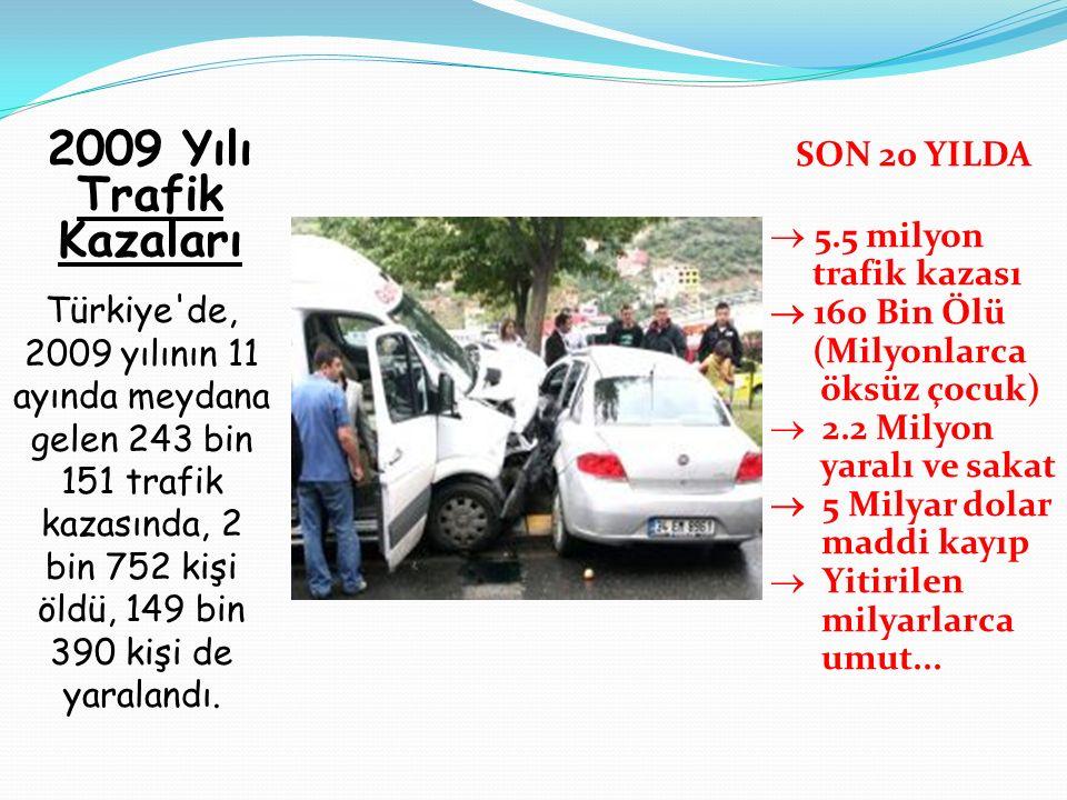 2009 Yılı Trafik Kazaları SON 20 YILDA 5.5 milyon trafik kazası