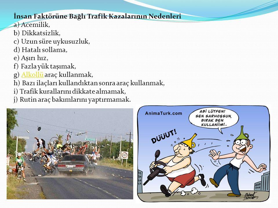 İnsan Faktörüne Bağlı Trafik Kazalarının Nedenleri a) Acemilik, b) Dikkatsizlik, c) Uzun süre uykusuzluk, d) Hatalı sollama, e) Aşırı hız, f) Fazla yük taşımak, g) Alkollü araç kullanmak, h) Bazı ilaçları kullandıktan sonra araç kullanmak, i) Trafik kurallarını dikkate almamak, j) Rutin araç bakımlarını yaptırmamak.