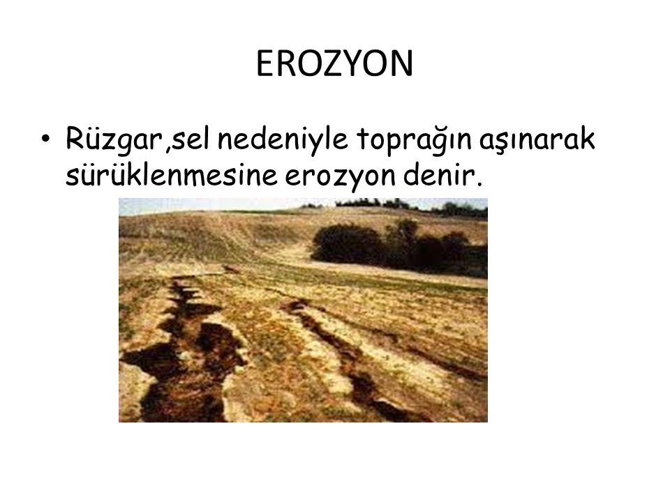 EROZYON Rüzgar,sel nedeniyle toprağın aşınarak sürüklenmesine erozyon denir.