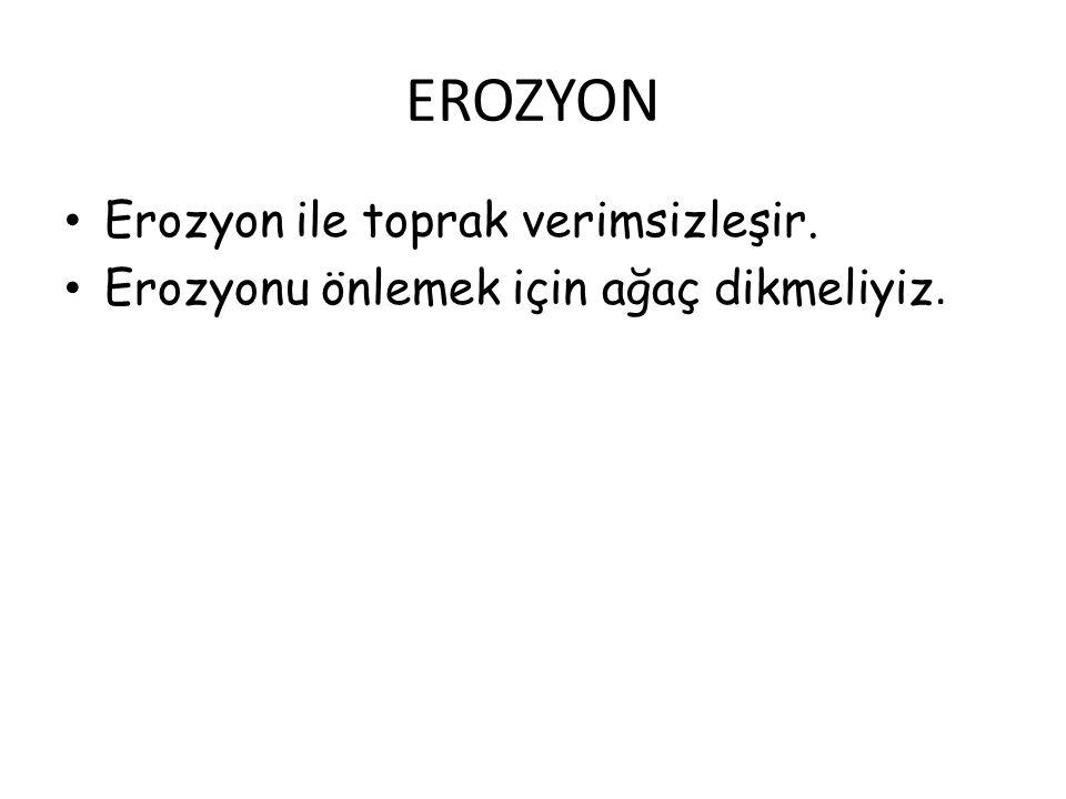 EROZYON Erozyon ile toprak verimsizleşir.