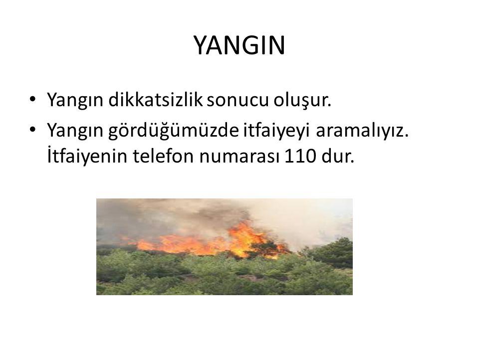 YANGIN Yangın dikkatsizlik sonucu oluşur.