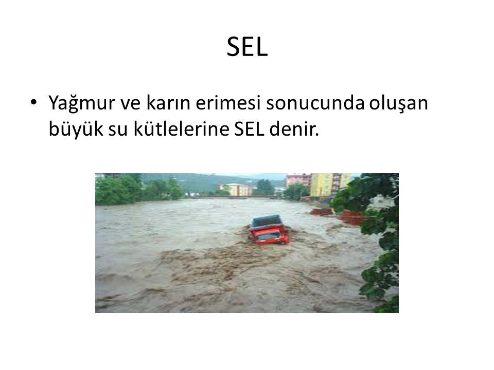 SEL Yağmur ve karın erimesi sonucunda oluşan büyük su kütlelerine SEL denir.