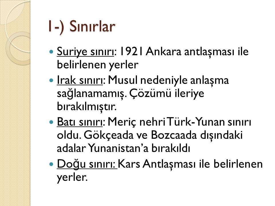 1-) Sınırlar Suriye sınırı: 1921 Ankara antlaşması ile belirlenen yerler.