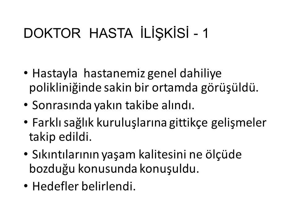 DOKTOR HASTA İLİŞKİSİ - 1