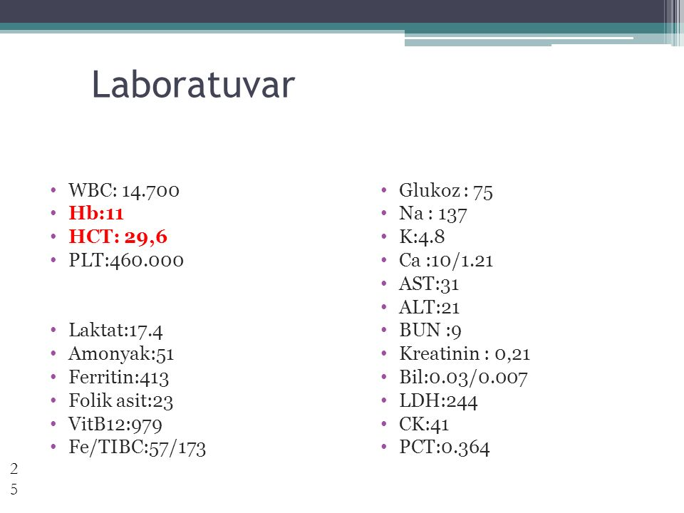 Laboratuvar WBC: 14.700 Hb:11 HCT: 29,6 PLT:460.000 Laktat:17.4