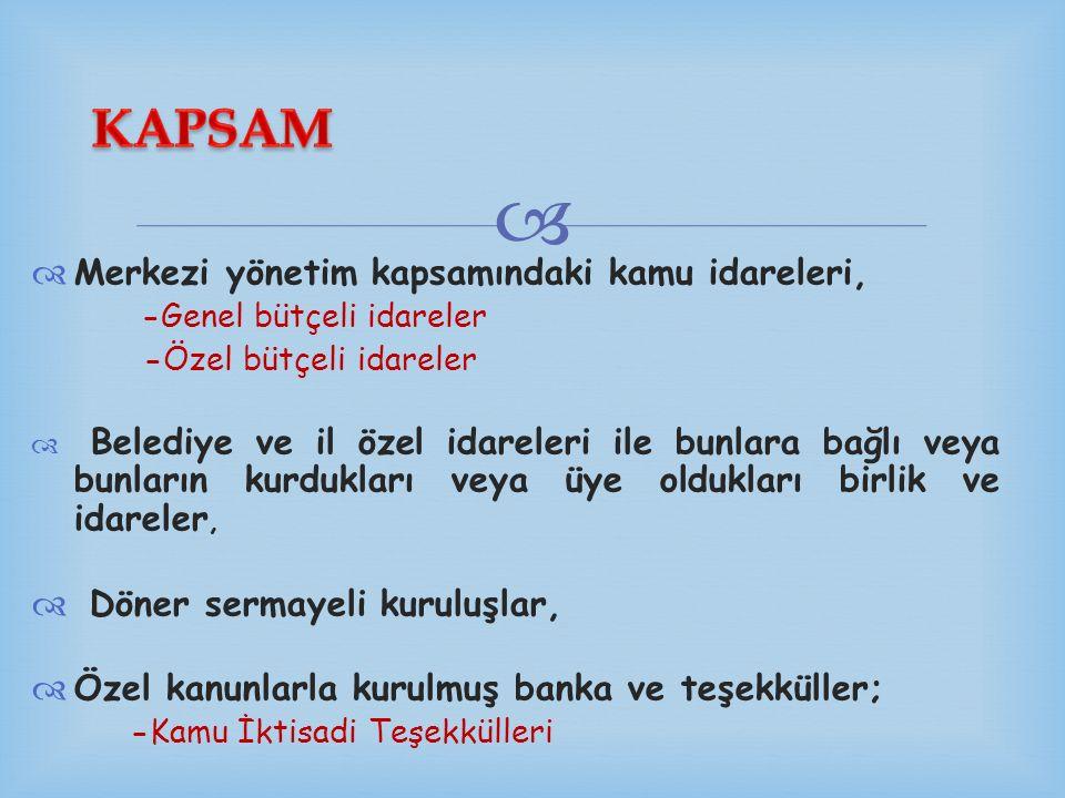 KAPSAM Merkezi yönetim kapsamındaki kamu idareleri,