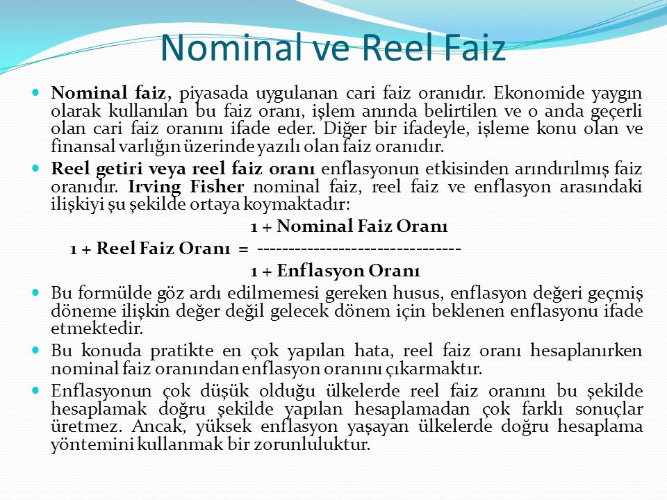 Nominal ve Reel Faiz
