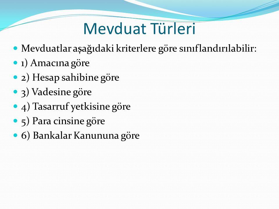 Mevduat Türleri Mevduatlar aşağıdaki kriterlere göre sınıflandırılabilir: 1) Amacına göre. 2) Hesap sahibine göre.