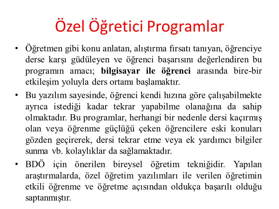 Özel Öğretici Programlar