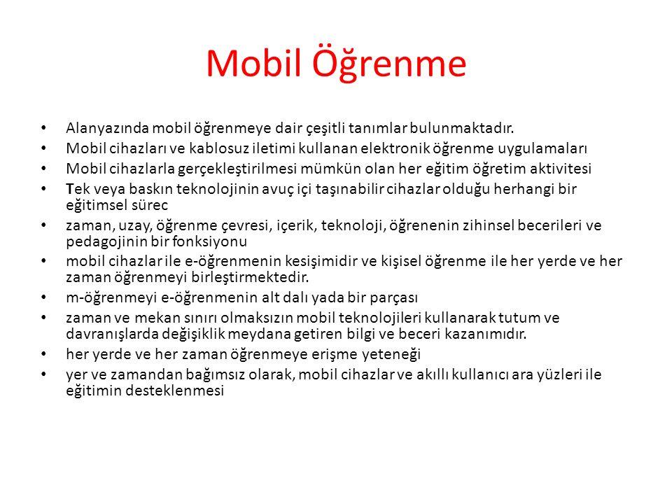 Mobil Öğrenme Alanyazında mobil öğrenmeye dair çeşitli tanımlar bulunmaktadır.
