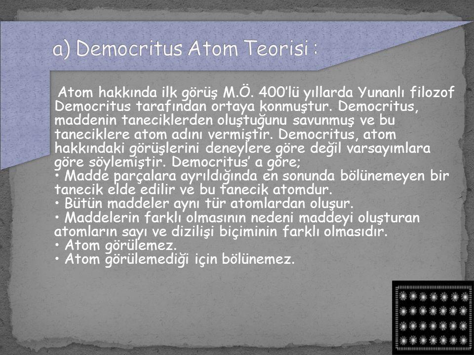 a) Democritus Atom Teorisi :
