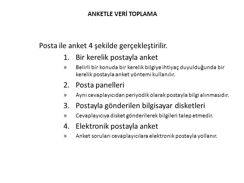 Posta ile anket 4 şekilde gerçekleştirilir. Bir kerelik postayla anket
