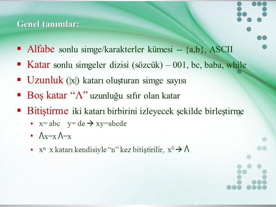 Alfabe sonlu simge/karakterler kümesi -- {a,b}, ASCII