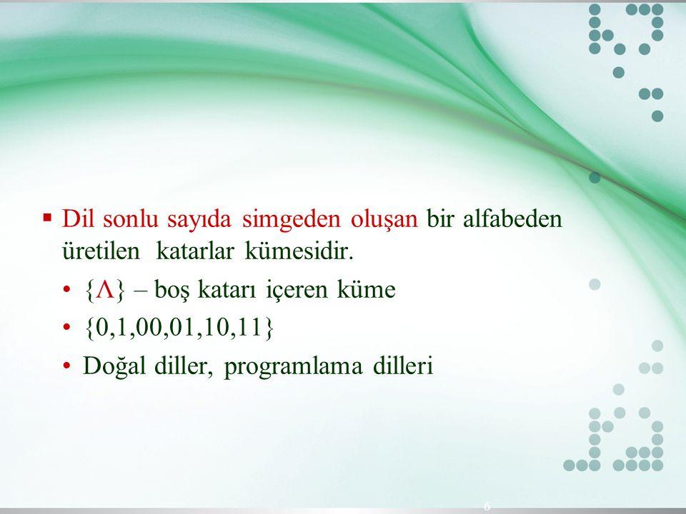 Dil sonlu sayıda simgeden oluşan bir alfabeden üretilen katarlar kümesidir.