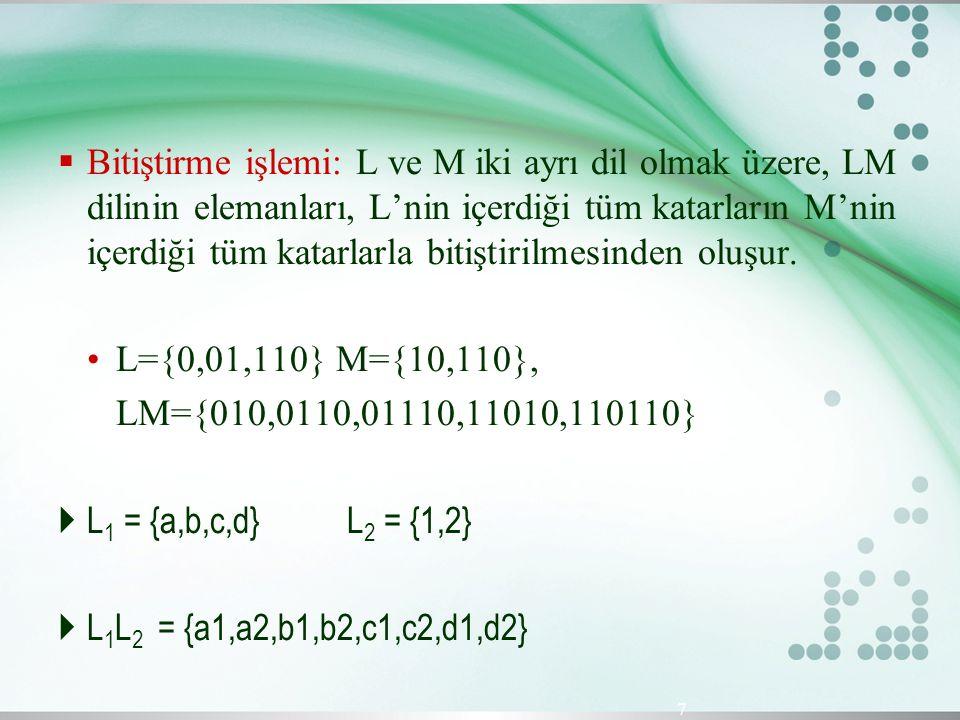 Bitiştirme işlemi: L ve M iki ayrı dil olmak üzere, LM dilinin elemanları, L'nin içerdiği tüm katarların M'nin içerdiği tüm katarlarla bitiştirilmesinden oluşur.