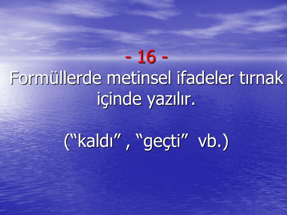 16 - Formüllerde metinsel ifadeler tırnak içinde yazılır