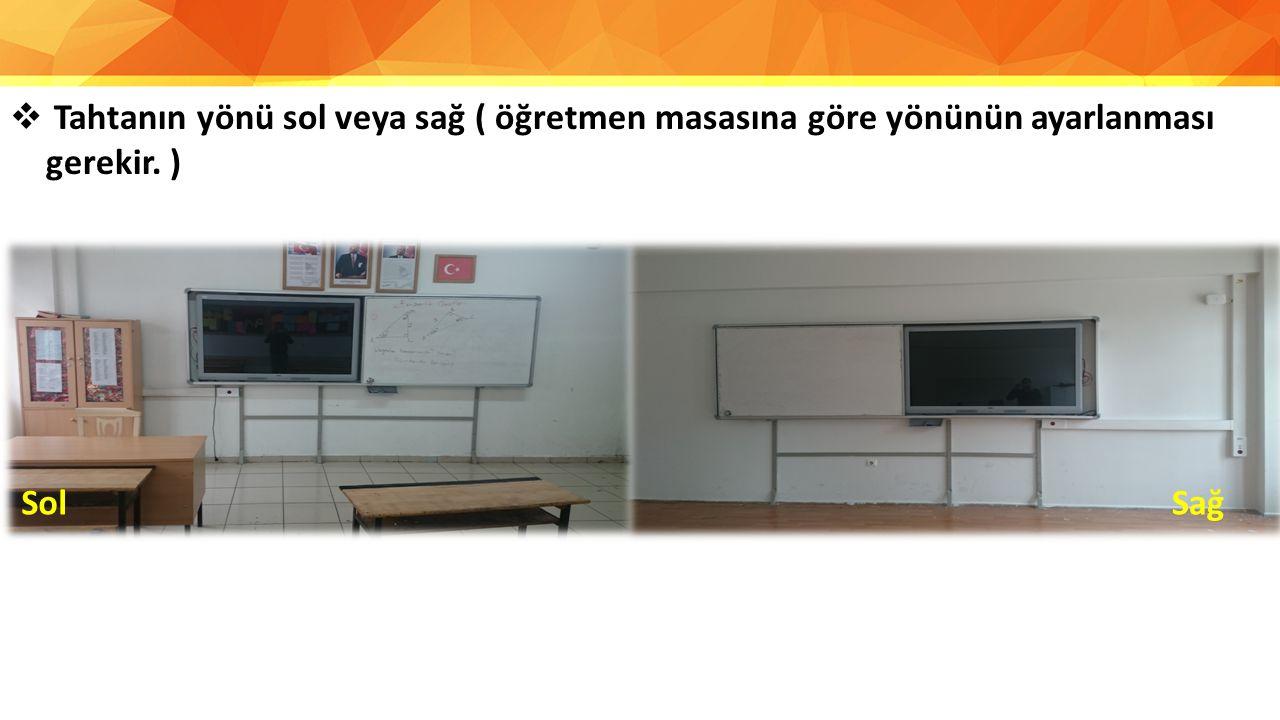 Tahtanın yönü sol veya sağ ( öğretmen masasına göre yönünün ayarlanması gerekir. )