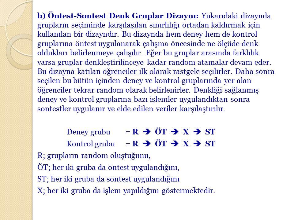 b) Öntest-Sontest Denk Gruplar Dizaynı: Yukarıdaki dizaynda grupların seçiminde karşılaşılan sınırlılığı ortadan kaldırmak için kullanılan bir dizayndır.