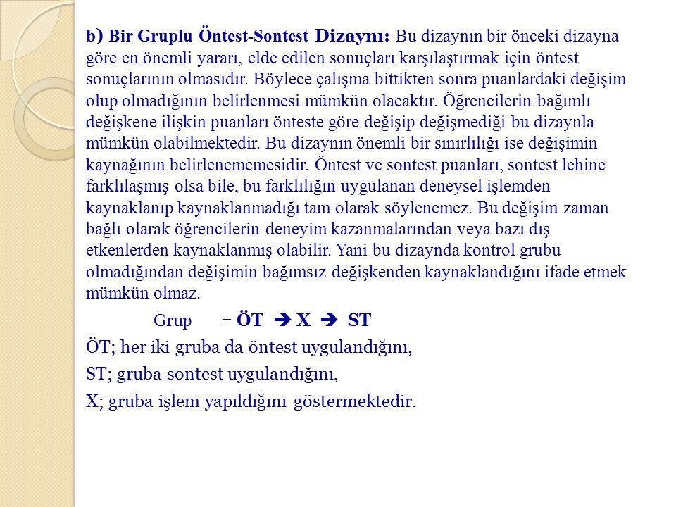 b) Bir Gruplu Öntest-Sontest Dizaynı: Bu dizaynın bir önceki dizayna göre en önemli yararı, elde edilen sonuçları karşılaştırmak için öntest sonuçlarının olmasıdır.