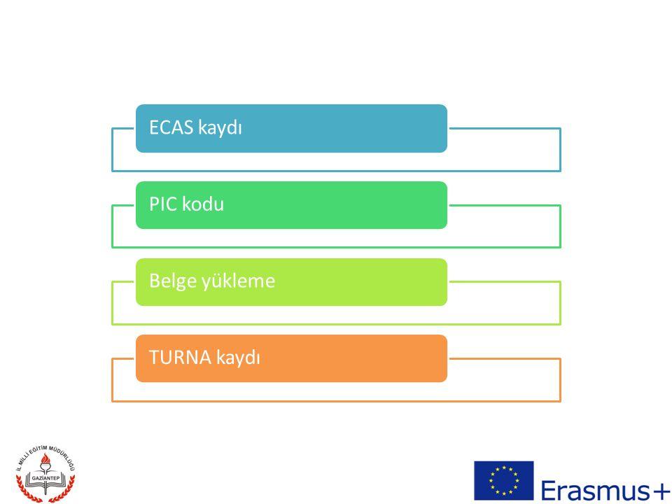 ECAS kaydı PIC kodu Belge yükleme TURNA kaydı