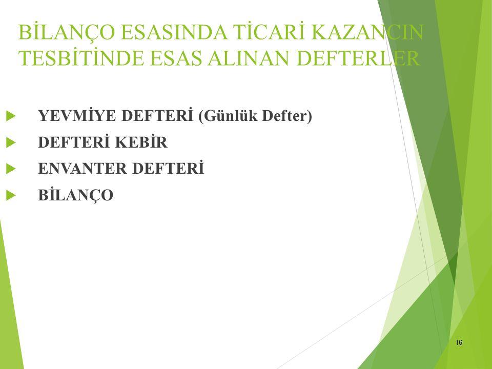 BİLANÇO ESASINDA TİCARİ KAZANCIN TESBİTİNDE ESAS ALINAN DEFTERLER