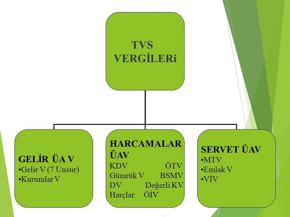 . TVS VERGİLERi HARCAMALAR SERVET ÜAV ÜAV GELİR ÜA V Gelir V (7 Unsur)