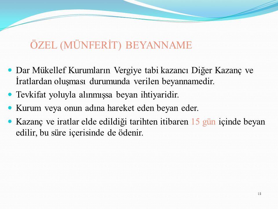 ÖZEL (MÜNFERİT) BEYANNAME