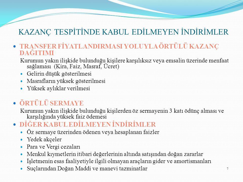 KAZANÇ TESPİTİNDE KABUL EDİLMEYEN İNDİRİMLER