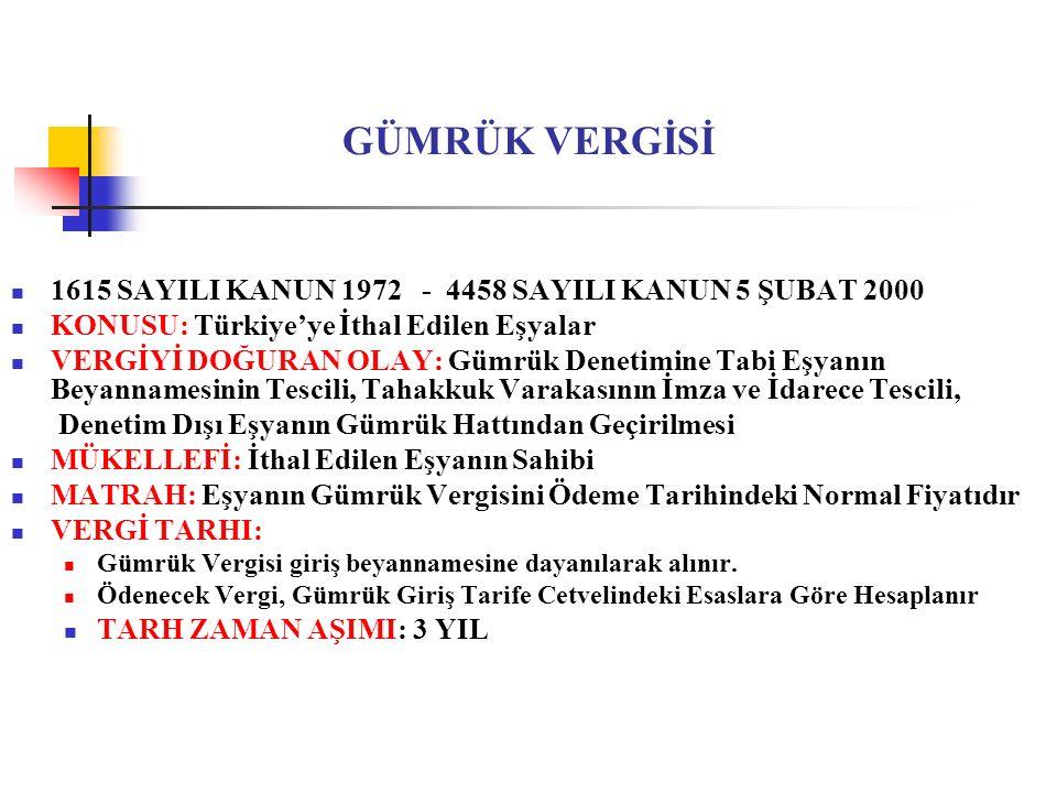 GÜMRÜK VERGİSİ 1615 SAYILI KANUN 1972 - 4458 SAYILI KANUN 5 ŞUBAT 2000