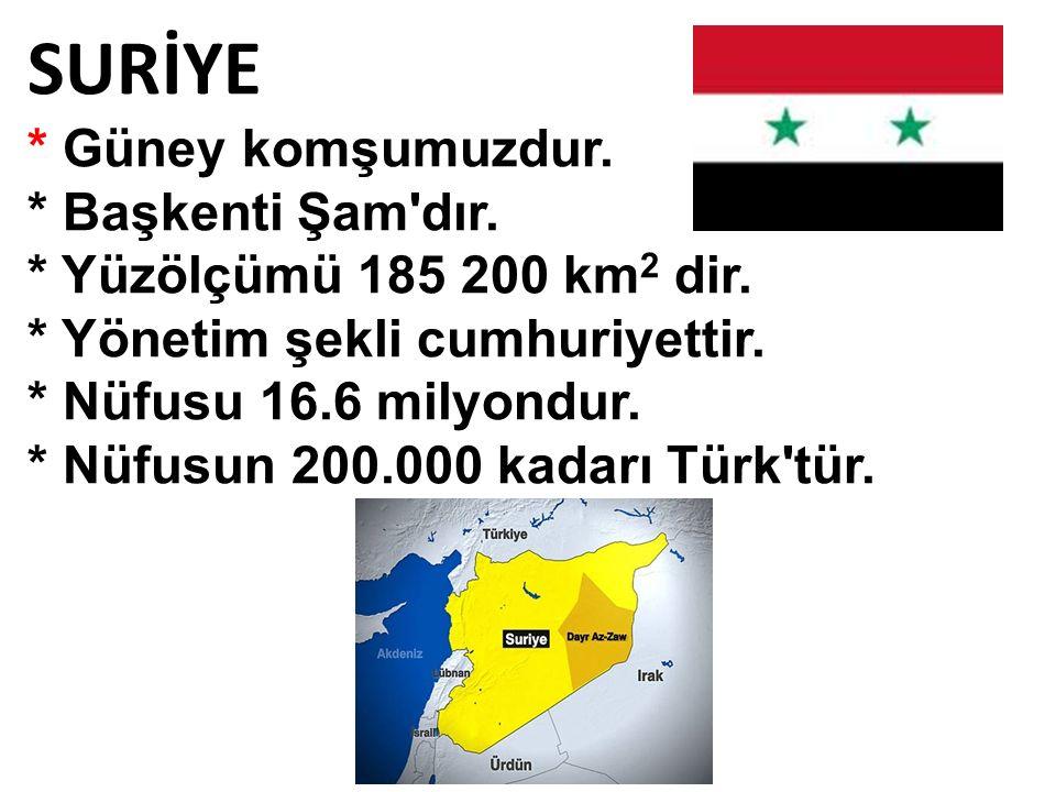 SURİYE * Güney komşumuzdur. * Başkenti Şam dır.