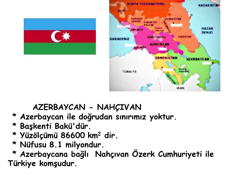 AZERBAYCAN - NAHÇIVAN * Azerbaycan ile doğrudan sınırımız yoktur.