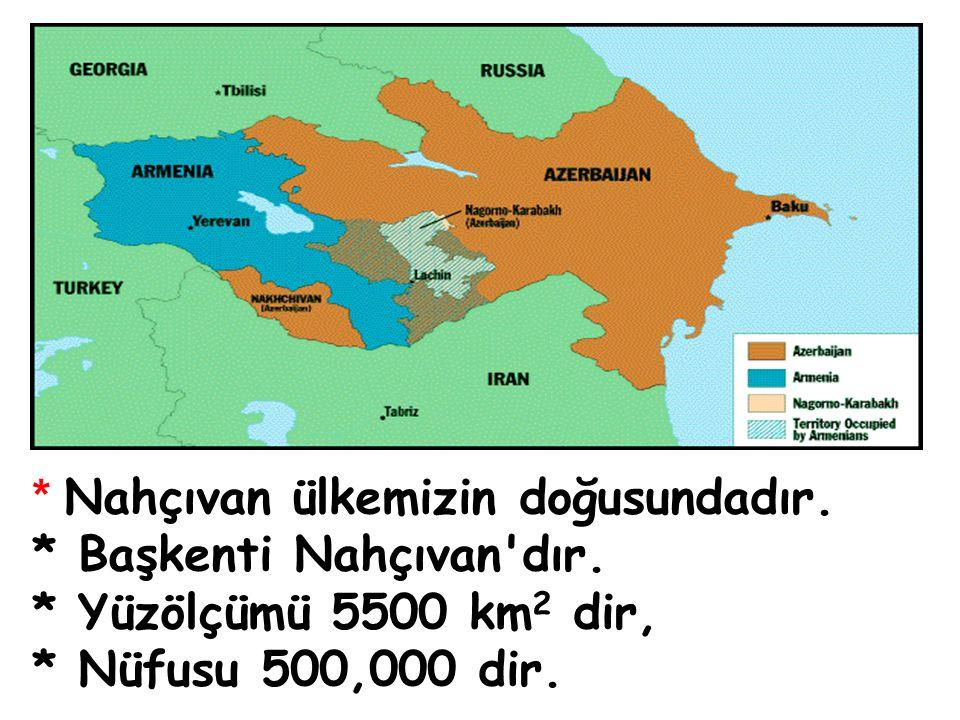 * Nahçıvan ülkemizin doğusundadır.