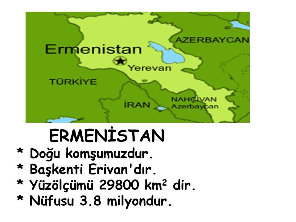 ERMENİSTAN * Doğu komşumuzdur. * Başkenti Erivan dır.