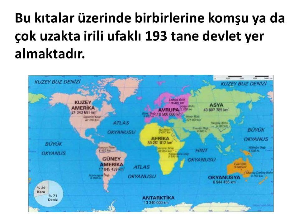 Bu kıtalar üzerinde birbirlerine komşu ya da çok uzakta irili ufaklı 193 tane devlet yer almaktadır.